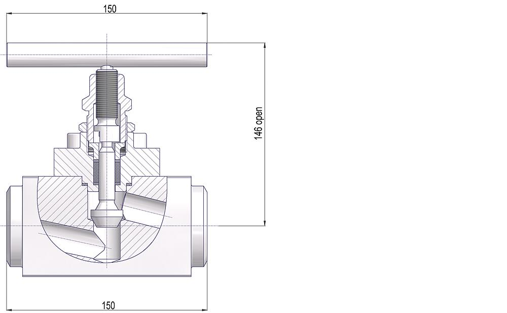 Bolted Bonnet Needle Valves Drawing (arrangement)