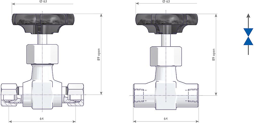Integral Bonnet Needle Valves Drawing (arrangement) 1
