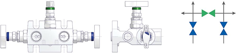 3 Valve Manifolds Drawing (arrangement) 2