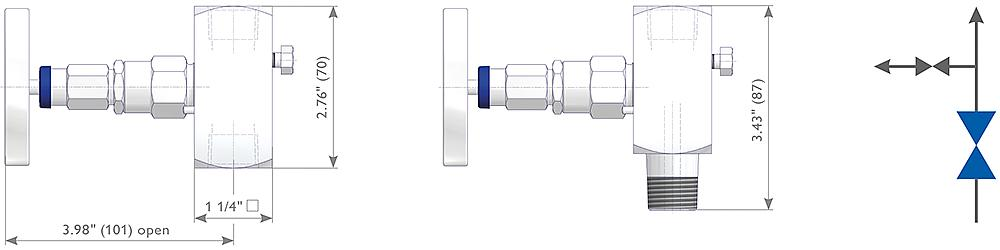Soft Seated Gauge Valves - G Type Drawing (arrangement) 1