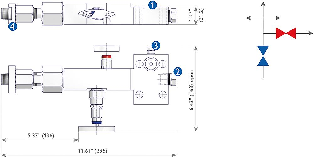 Manifolds for Ultrasonic Flow Meter Applications Drawing (arrangement)
