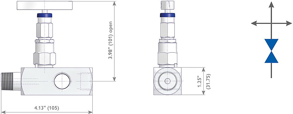 Soft Seated Multiport Gauge Valves Drawing (arrangement)